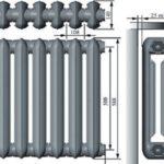 Размеры чугунных радиаторов отопления: межосевое расстояние, высота и ширина секции чугунного радиатора